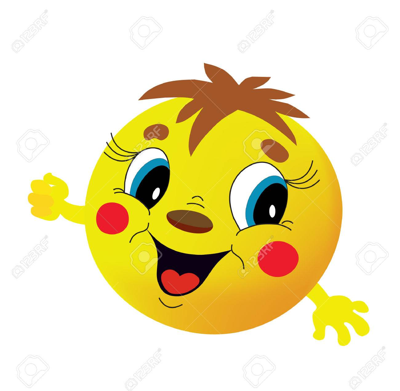 Yellow round head with a smile Stock Vector - 8874574