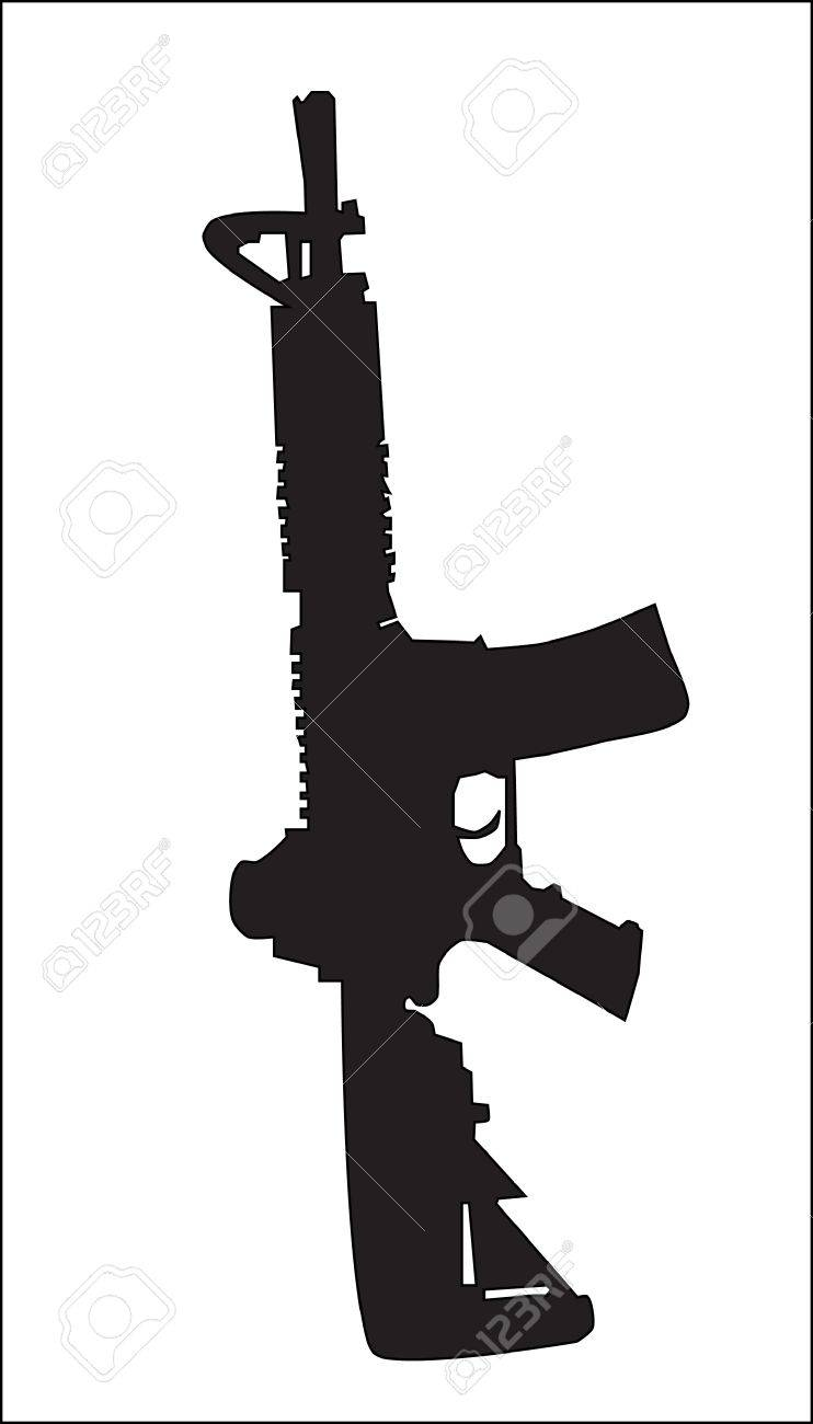 Background. Abstraction. The weapon. A silhouette of the military automatic machine. Stock Vector - 9133547