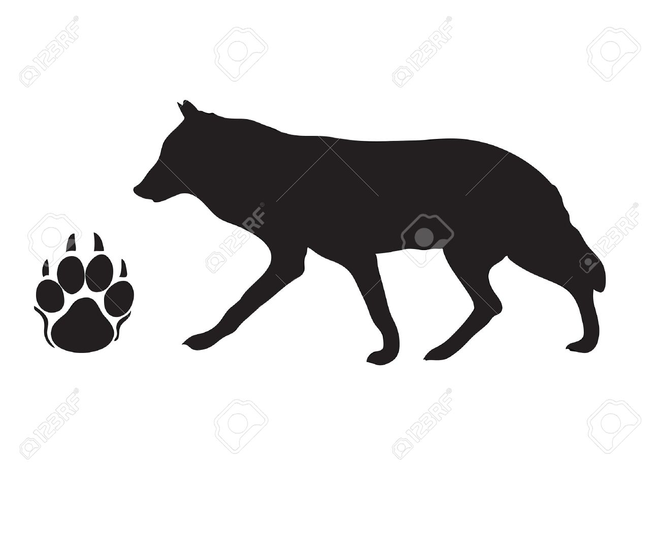 Black silhouette of a wolf with a paw print. Stock Vector - 10666142