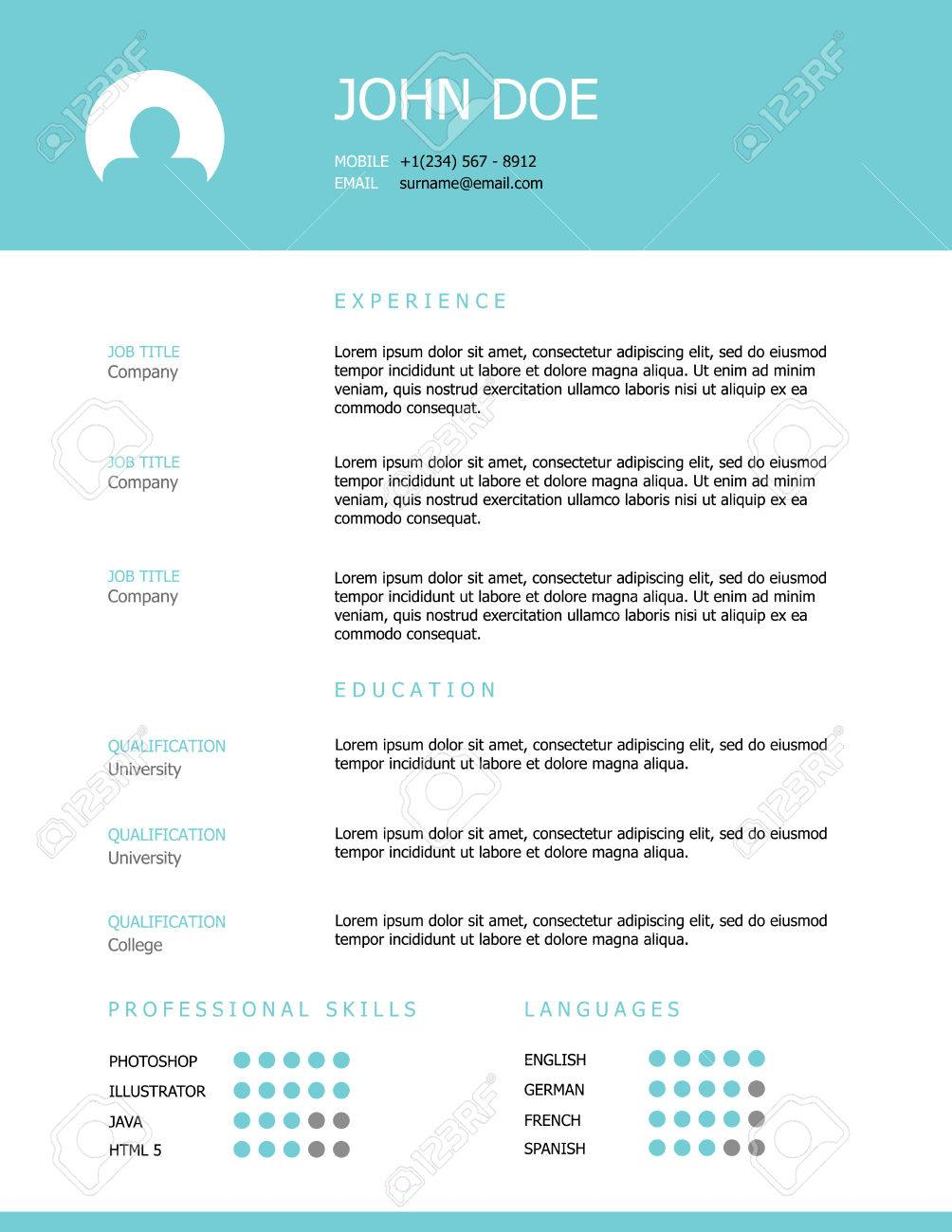 professional clean styled resume template design with a teal