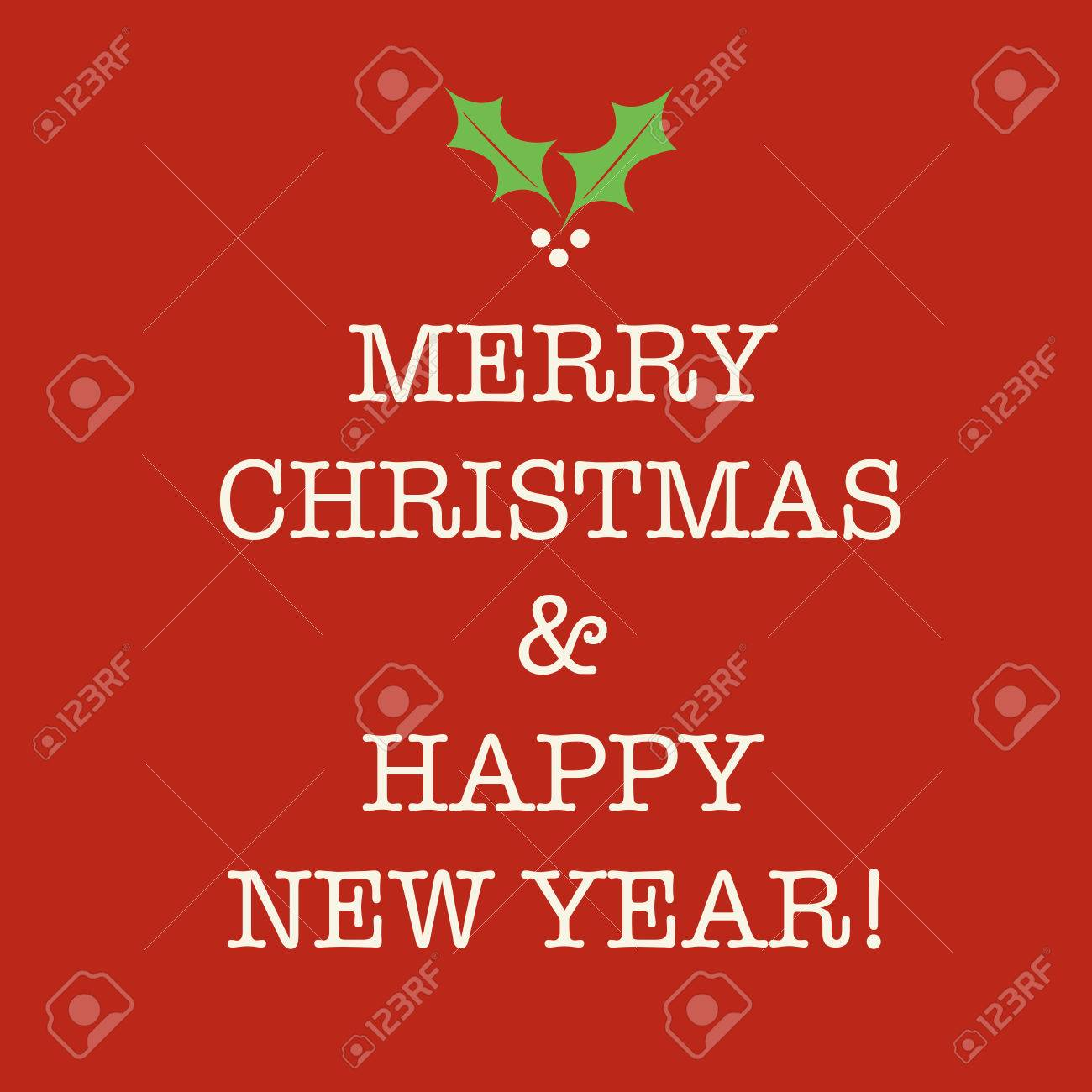 simple red merry christmas and happy new year card with holly stock photo 43923445
