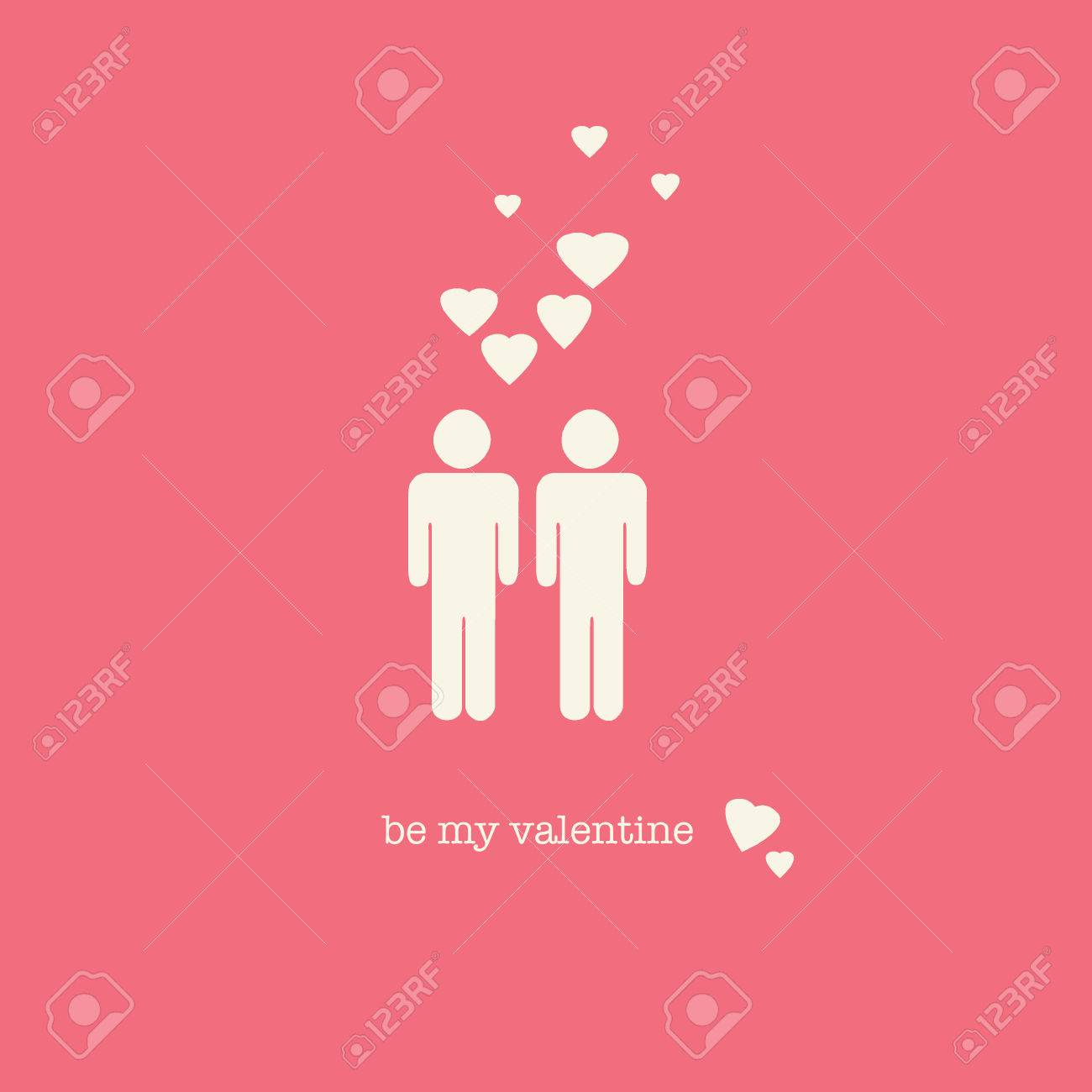 A Sweet Valentines Day Card With A Gay Couple Figures And Hearts – Gay Valentines Card