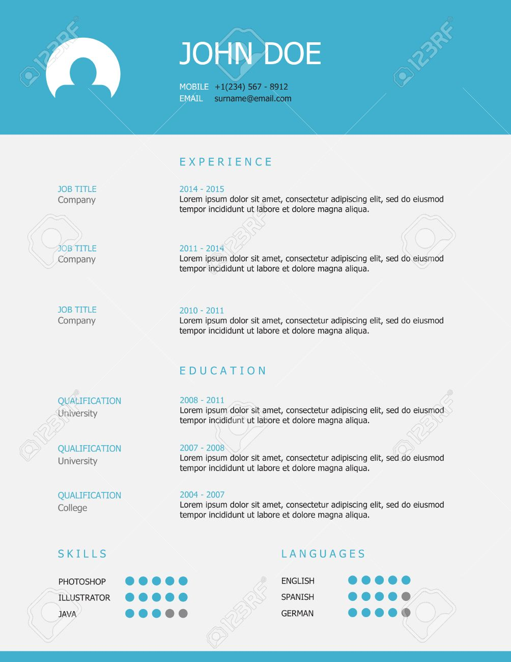 professional simple styled resume template design with blue header and gray background stock vector