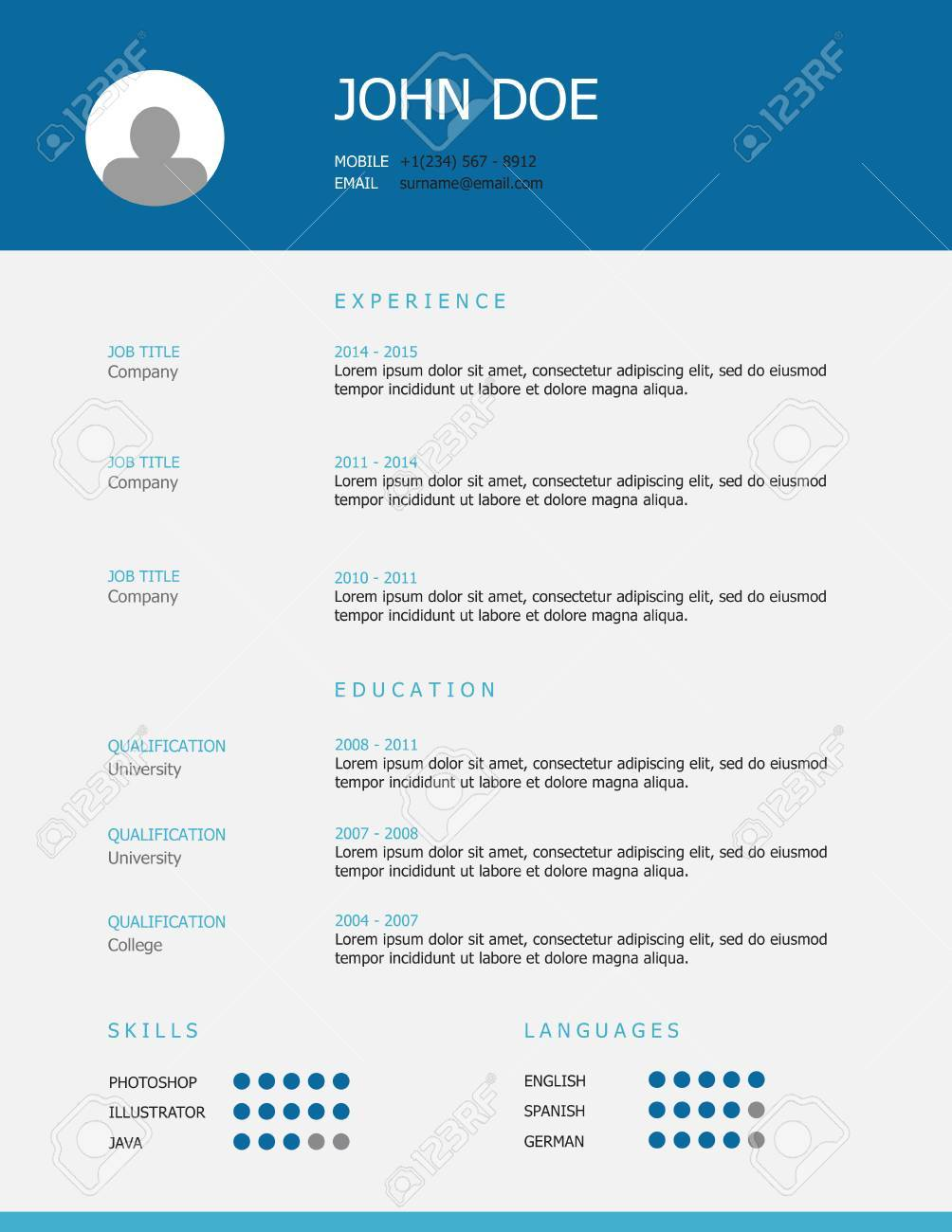 Professional Simple Styled Resume Template Design With Blue And
