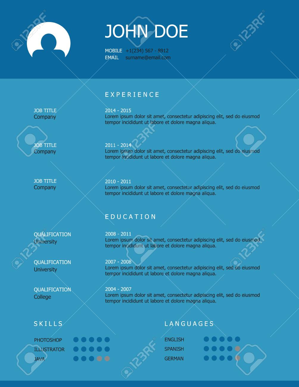professionelle einfachen stil lebenslauf template design mit blauen berschrift auf trkisfarbenen hintergrund standard - Lebenslauf Uberschrift