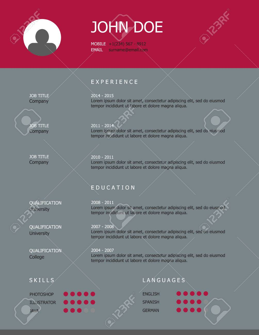 professional simple styled resume template design with pink heading