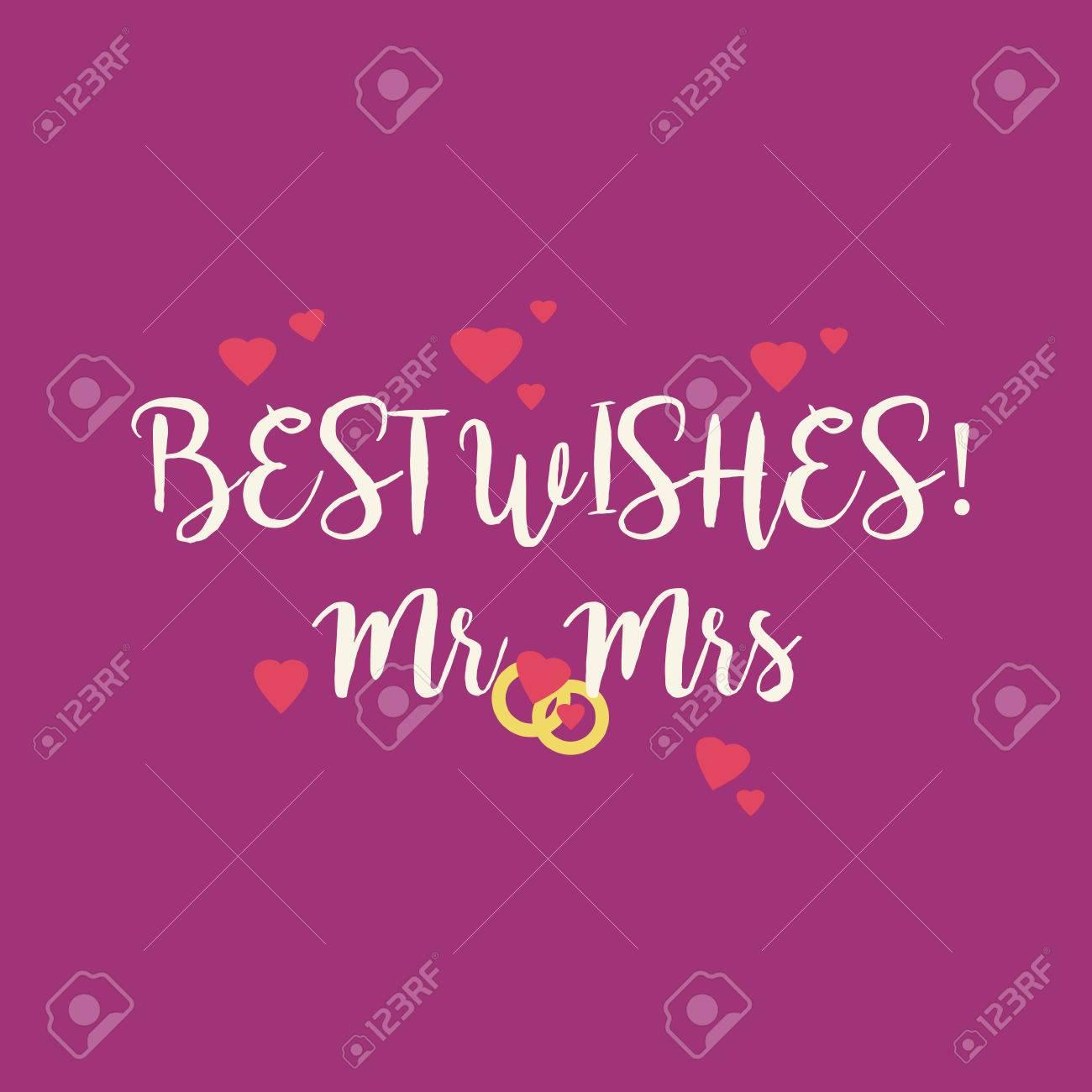 Cute Magenta Wedding Best Wishes Mr Mrs Congratulations Card.. Stock ...