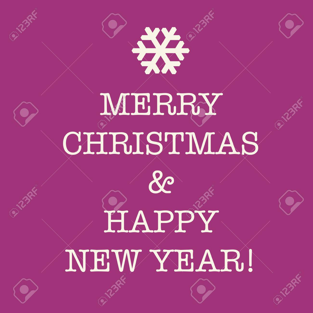 purple pink merry christmas and happy new year greeting card with a snowflake stock photo