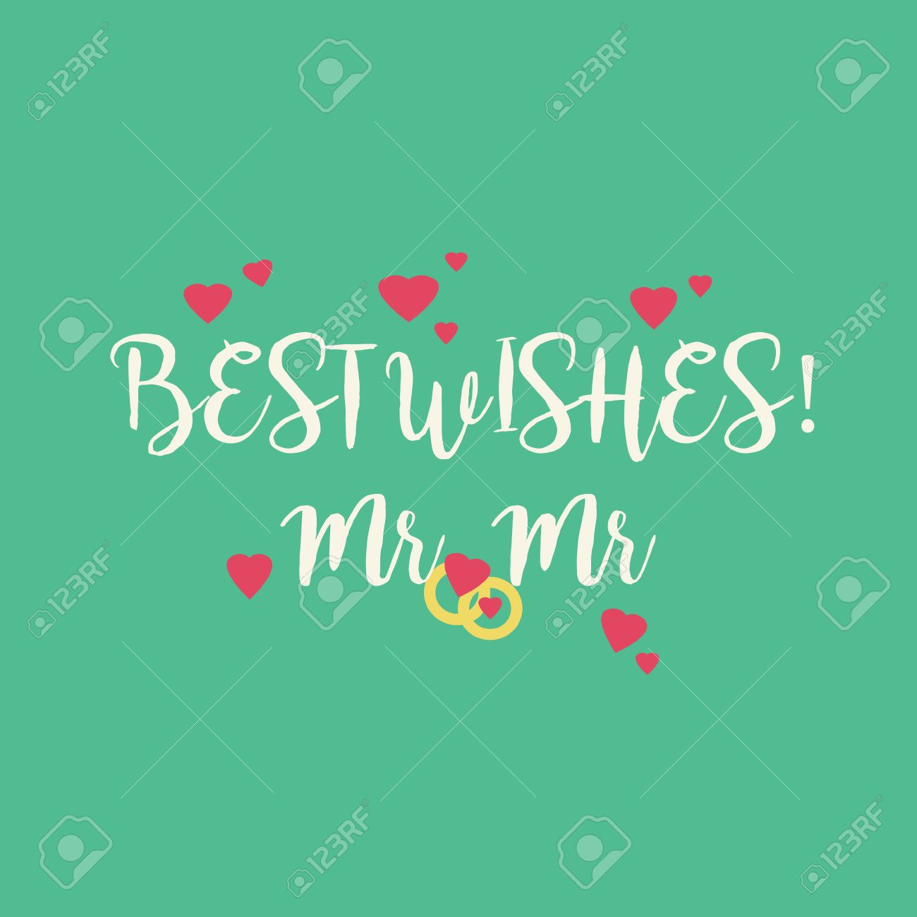 cute wedding best wishes mr mr congratulations greeting card stock