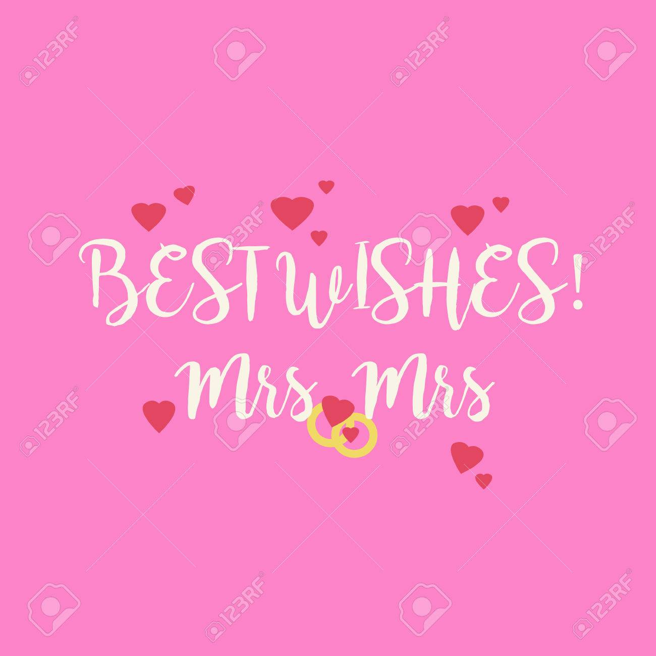 Cute wedding Best Wishes Mrs Mrs congratulations greeting card for a lesbian  couple with pink hearts
