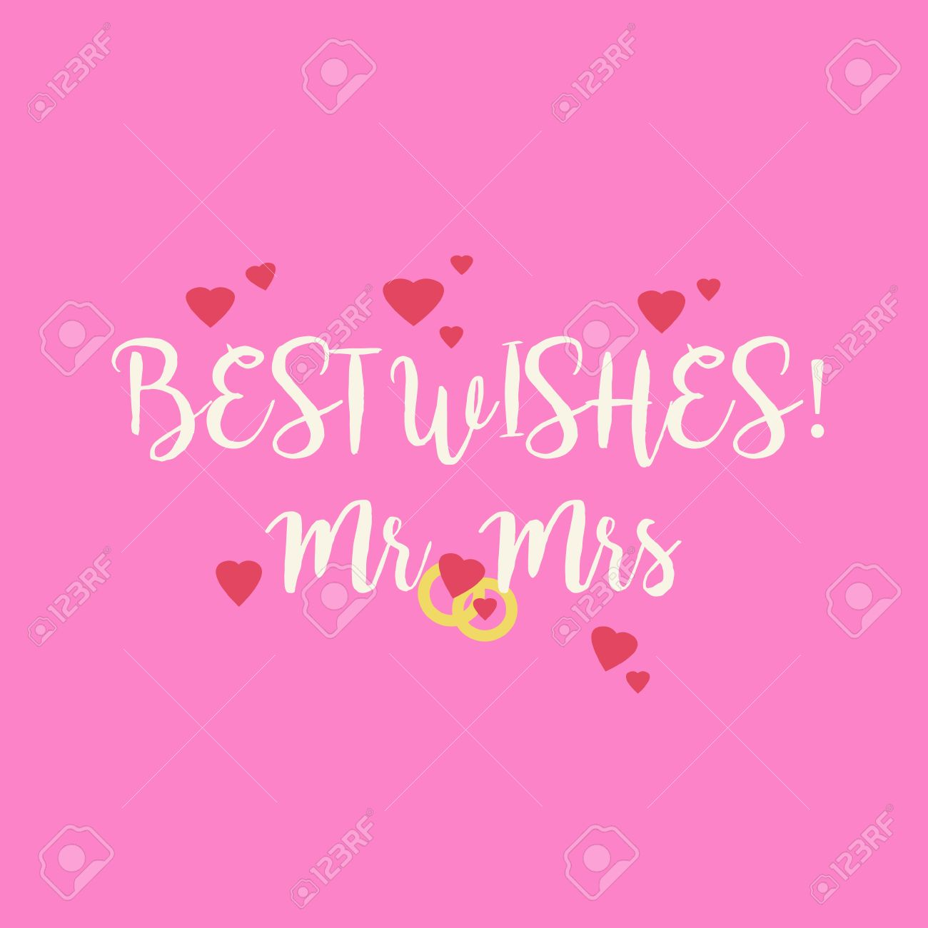 Cute Pink Wedding Best Wishes Mr Mrs Congratulations Greeting ...