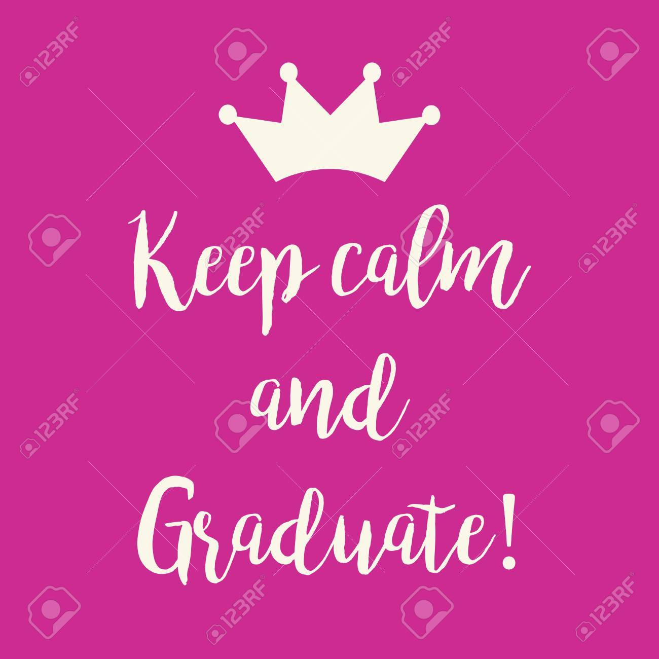 cute pink keep calm and graduate greeting card with a crown royalty