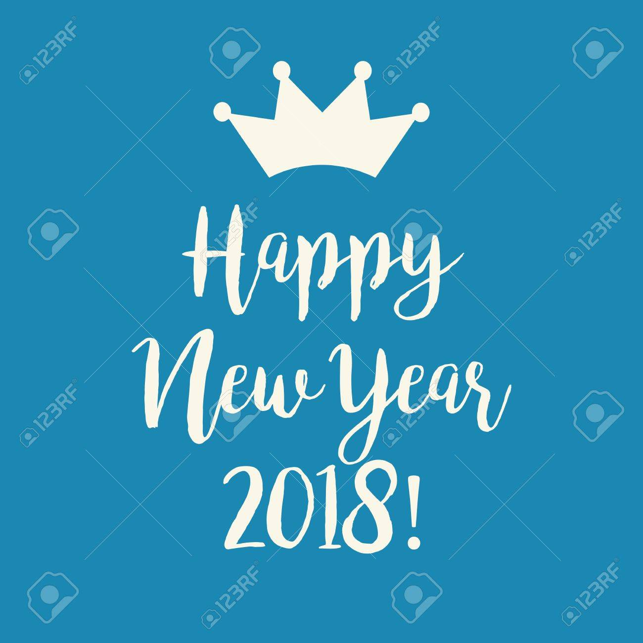 cute simple blue happy new year 2018 greeting card with a crown stock vector