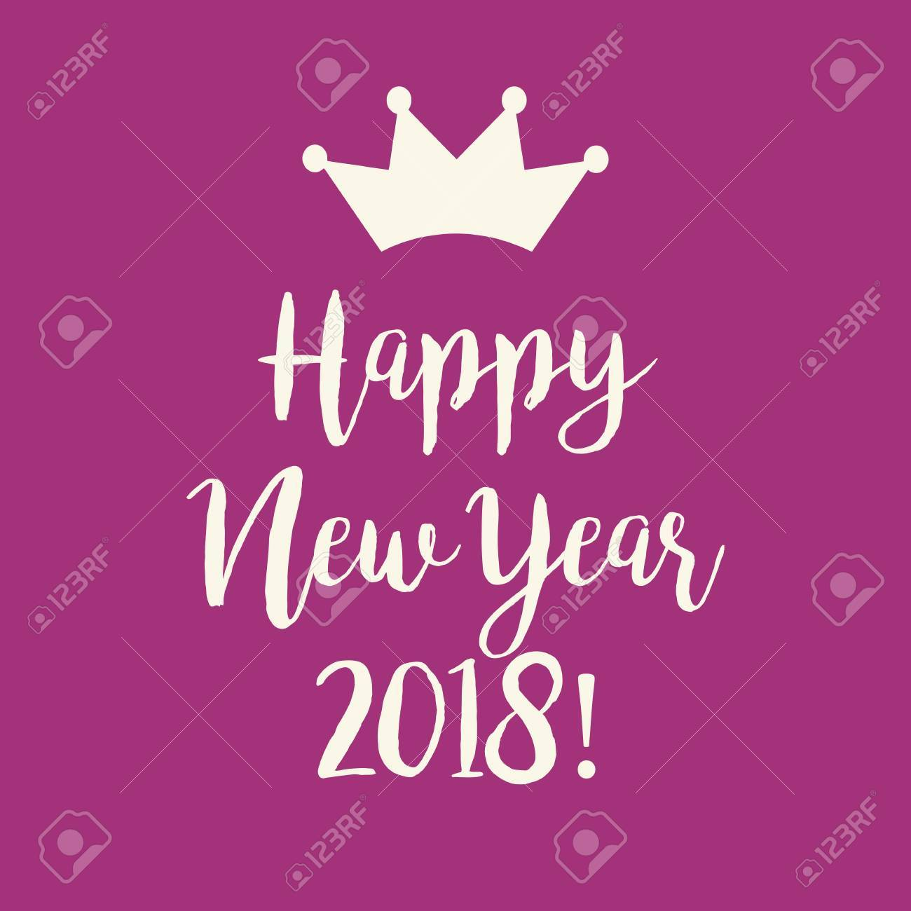 cute simple purple pink happy new year 2018 greeting card with a crown stock vector