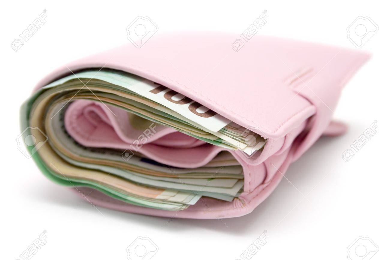 Feminine leather wallet full of banknotes. Isolated on a white background. Stock Photo - 1441198