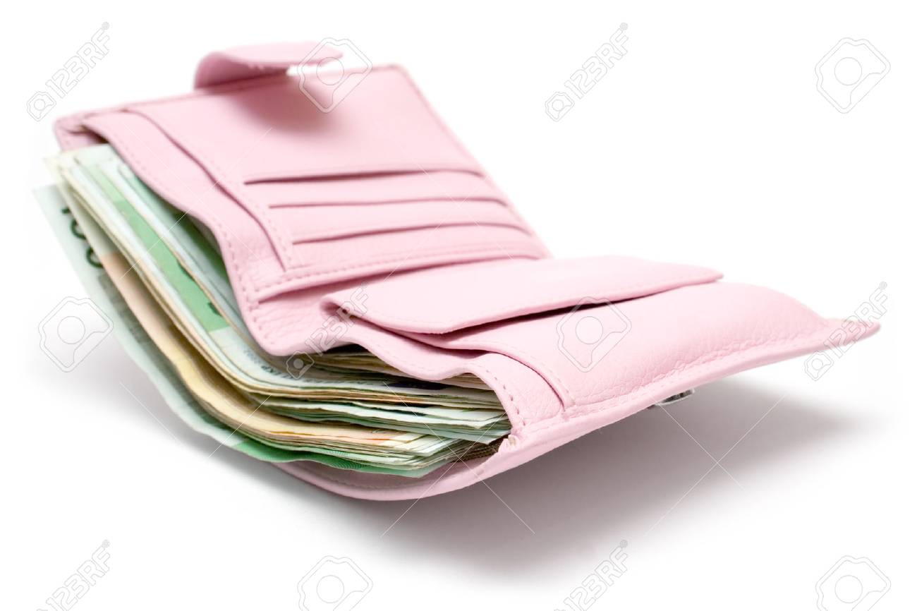 Feminine leather wallet full of banknotes. Isolated on a white background. Stock Photo - 1441200