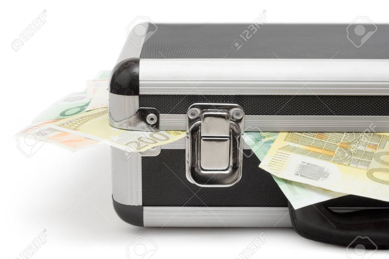 Detail shot of a suitcase full of Euro bills. Isolated on a white background. Stock Photo - 1441233
