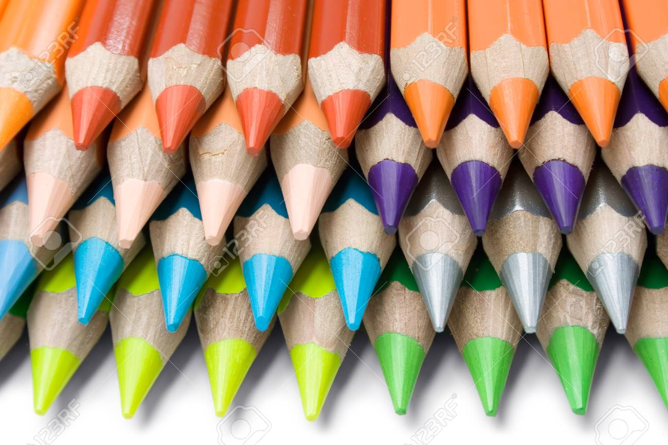 Stack of colorful pencils isolated on a white background. Stock Photo - 1441257
