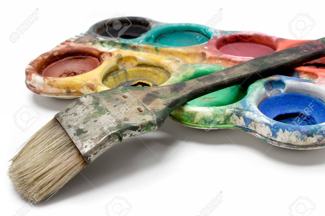 Used colors and dirty paintbrush isolated on a white background. Stock Photo - 1449591