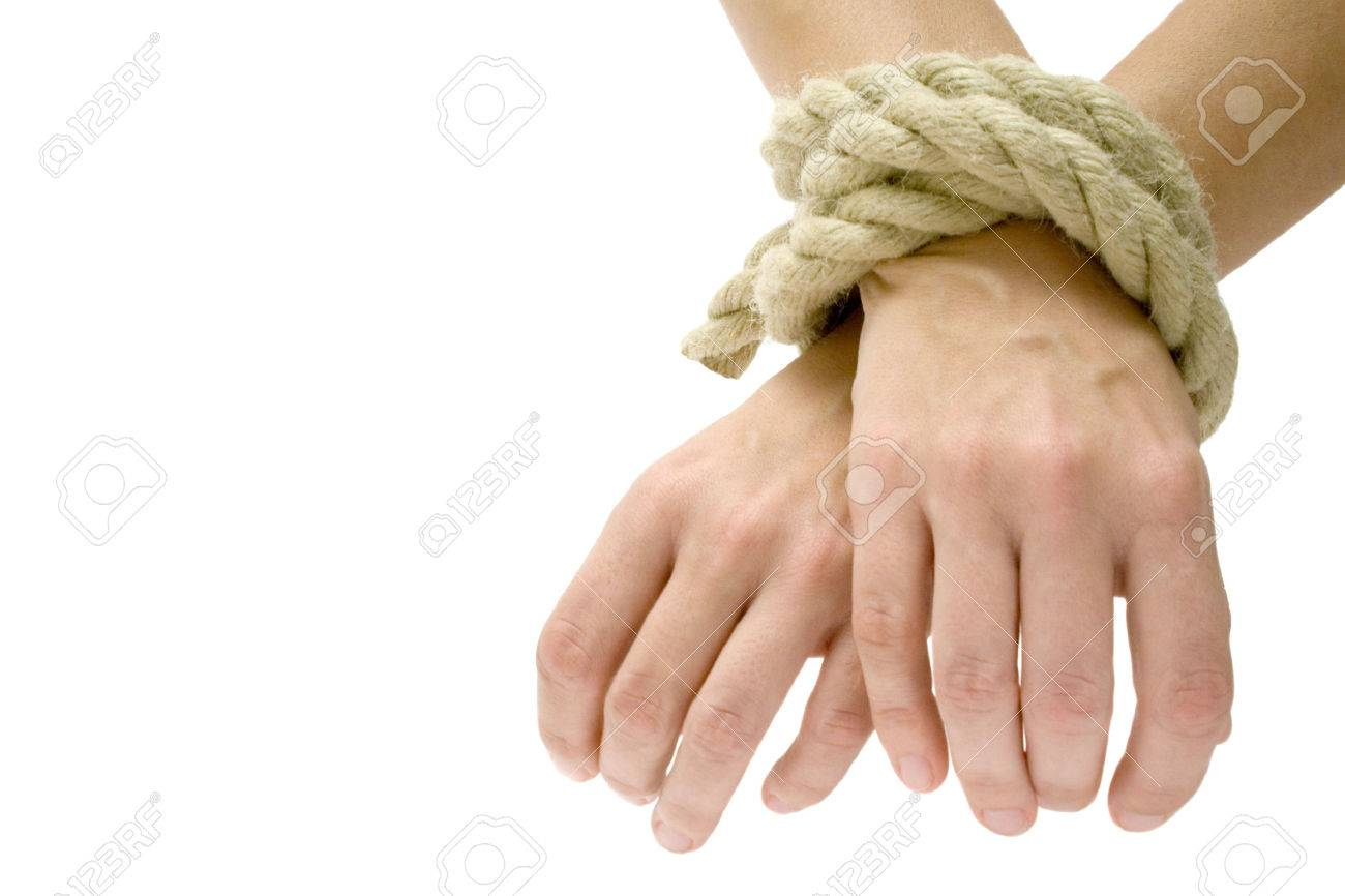 Hands tied. Isolated on a white background. Stock Photo - 1455694