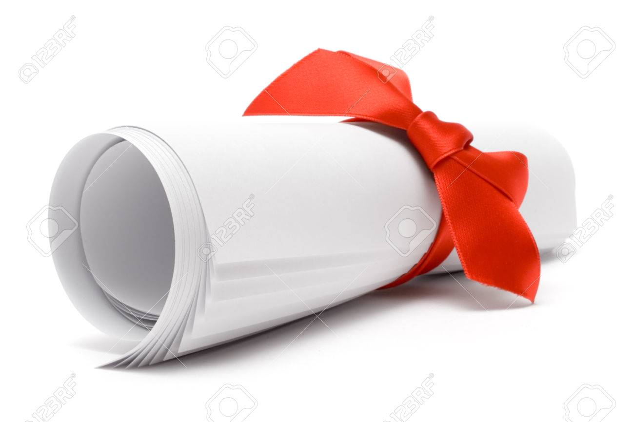 Gift certificate with a red ribbon isolated on a white background. Stock Photo - 1455688