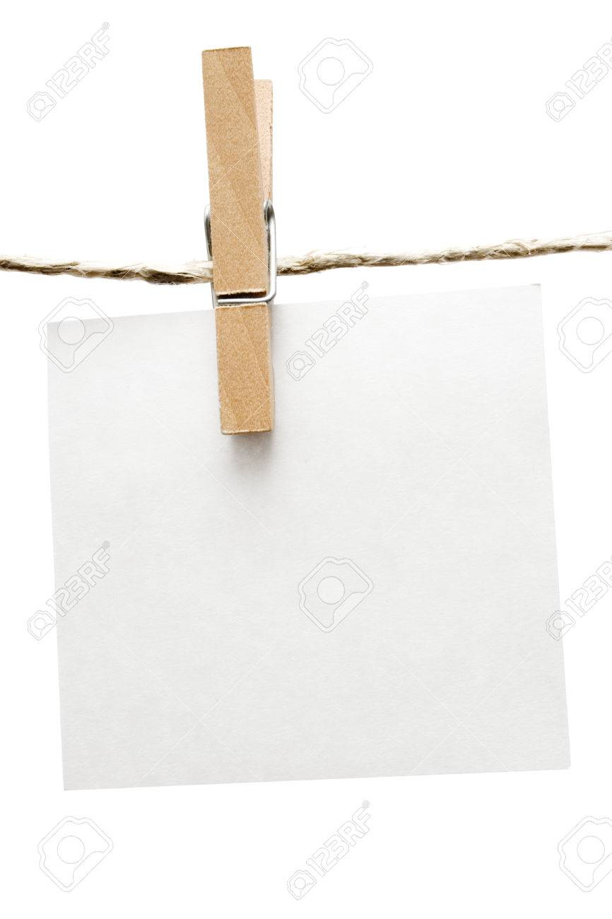 Blank note hanging on a clothesline. Isolated on a white background. Stock Photo - 1478177