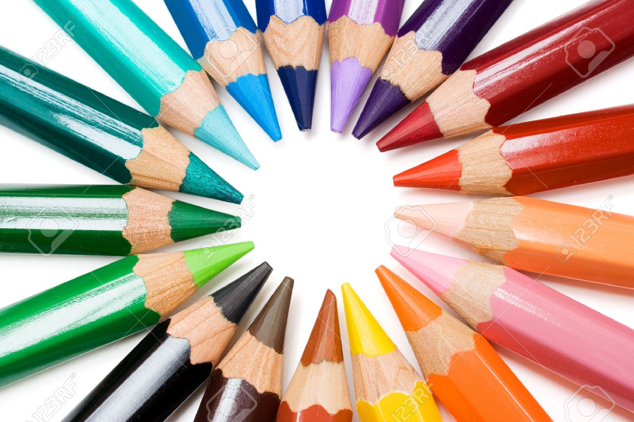 Colored pencils forming a color circle. White background. Stock Photo - 1551589