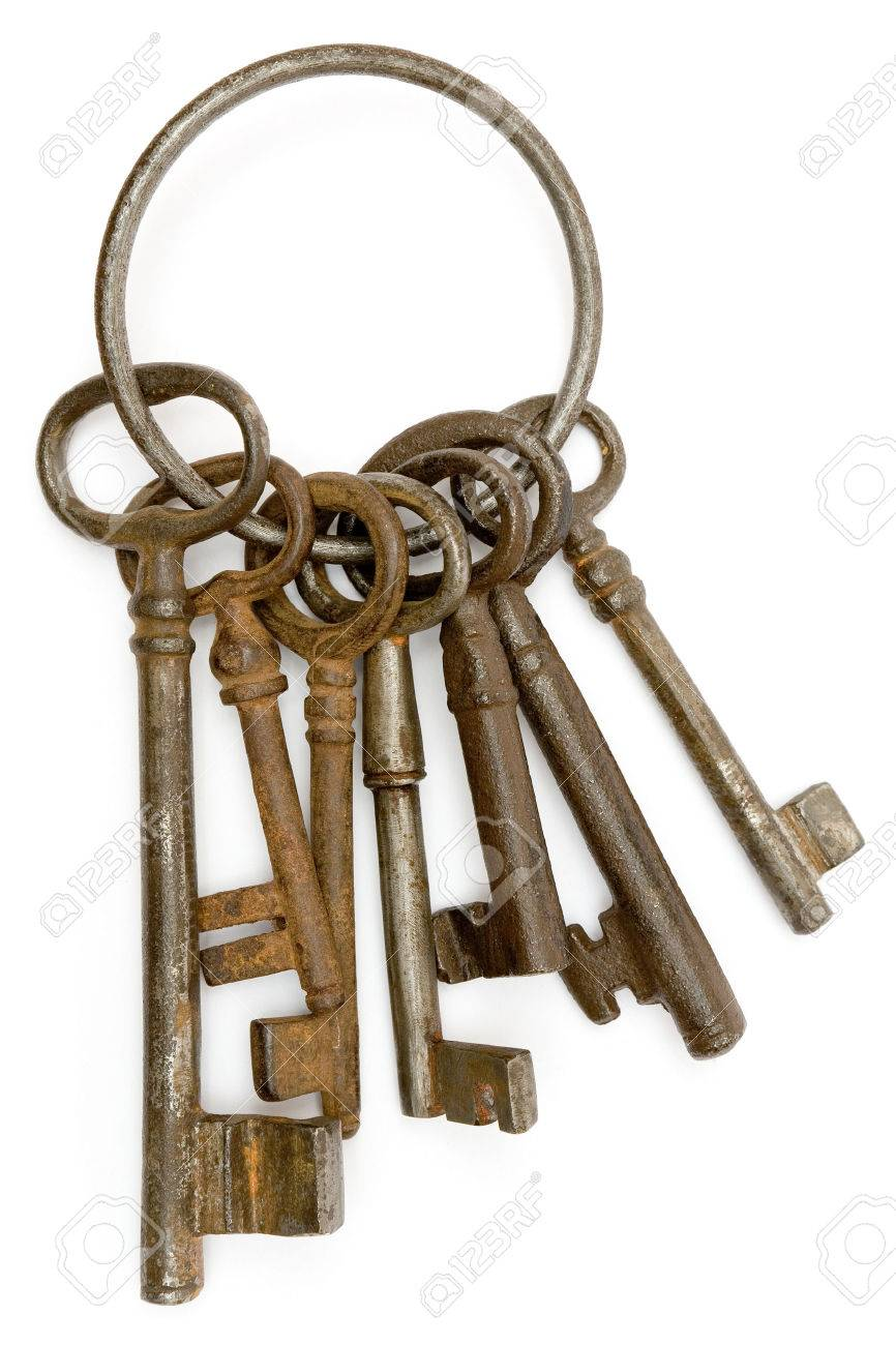 Antique bunch of keys isolated on a white background. Stock Photo - 1551598