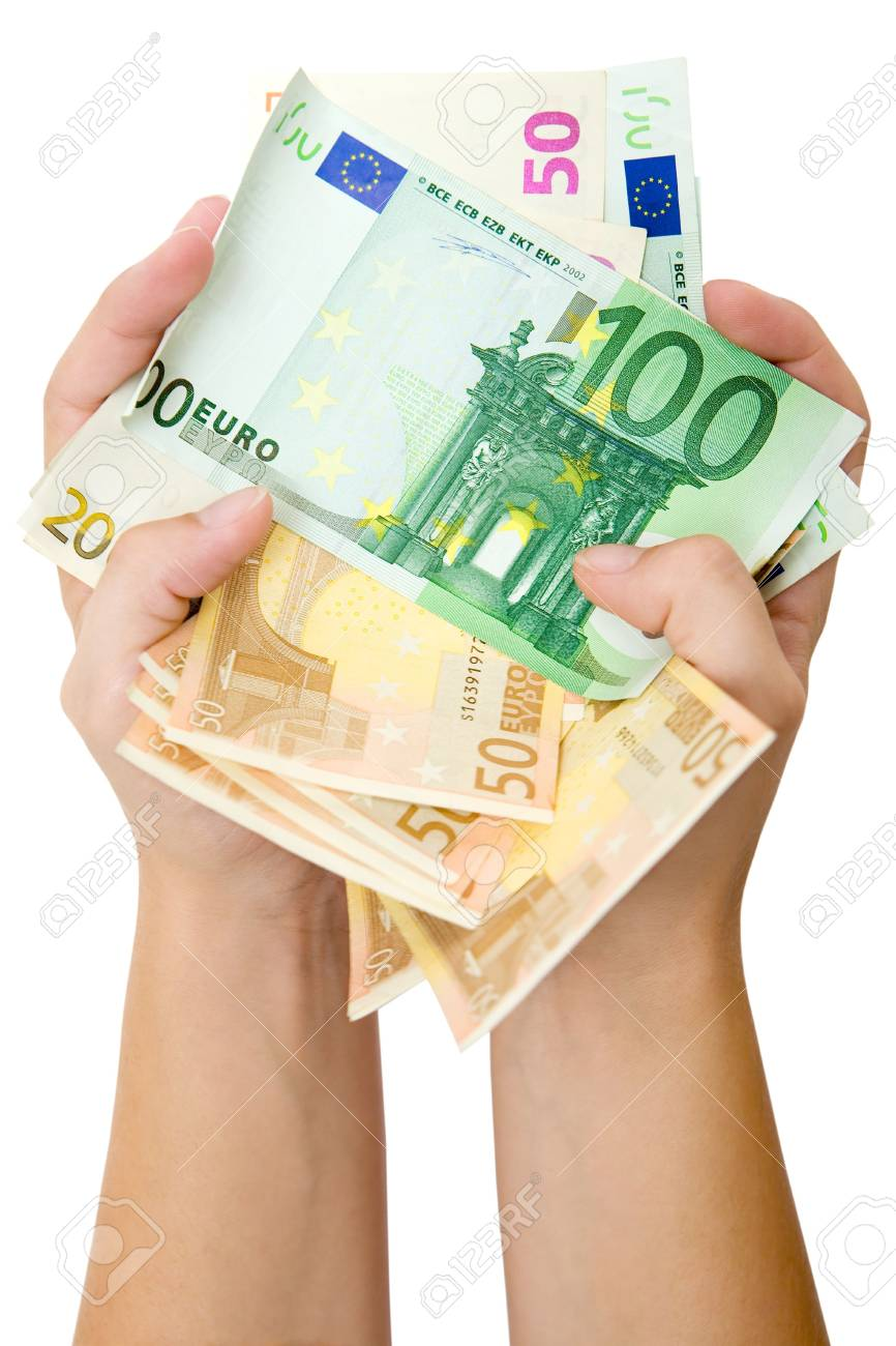 Holding a bunch of various Euro banknotes. Isolated on a white background. - 2097694