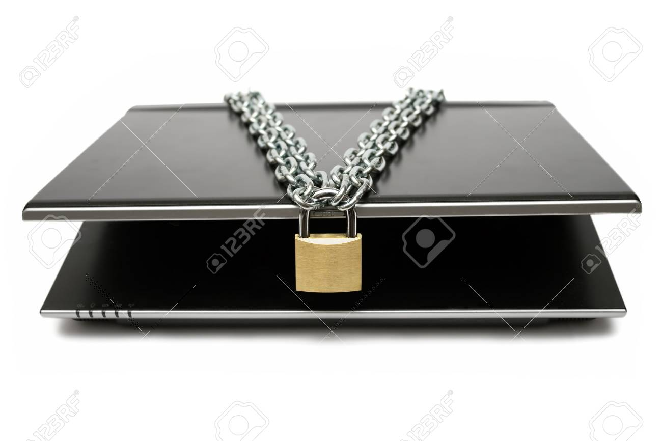 Padlock and chain locking a notebook. White background. Stock Photo - 2097623
