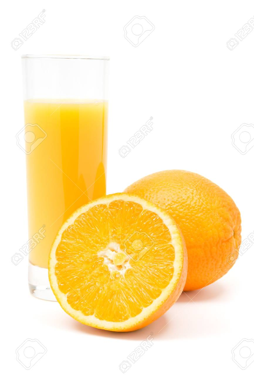 Glass of juice and oranges. White background. Stock Photo - 2225769