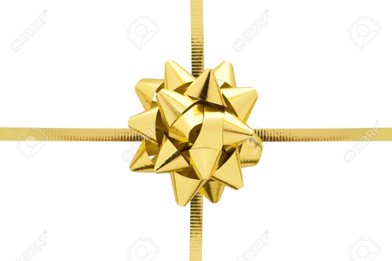 Gift ribbon and bow isolated on a white background. - 2557459