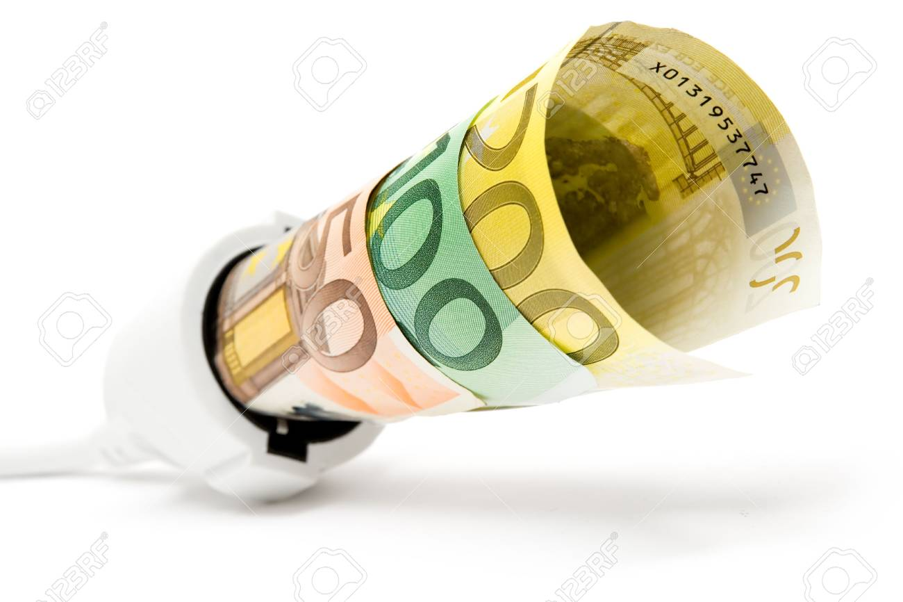 Euro banknotes attached to a white extension cable. White background. Shallow depth of field. - 2557483