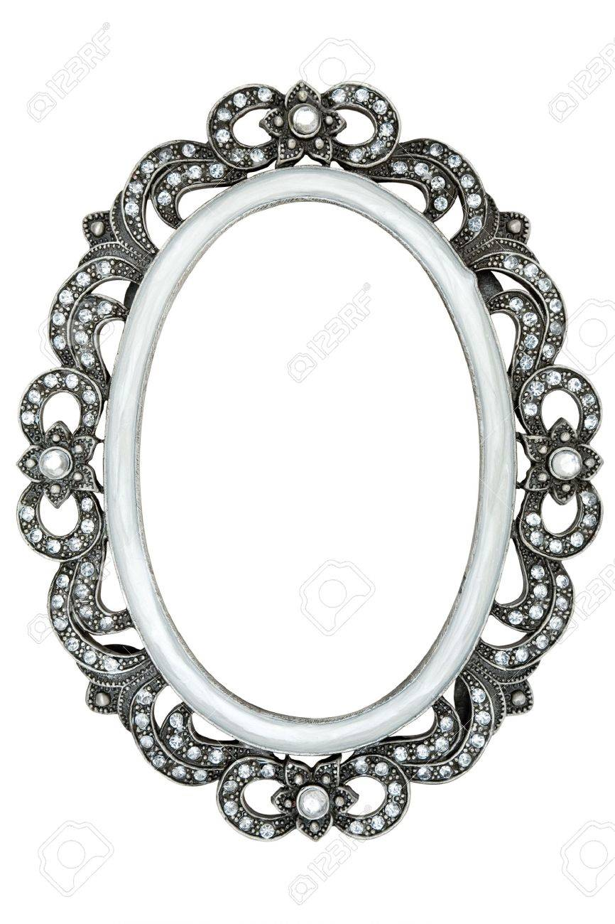 Metal frame with tiny jewels. Isolated on a white background. - 2557518