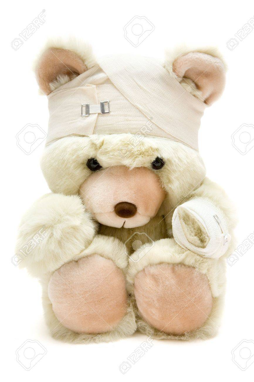 Wounded teddy bear. Isolated on a white background. - 2557496