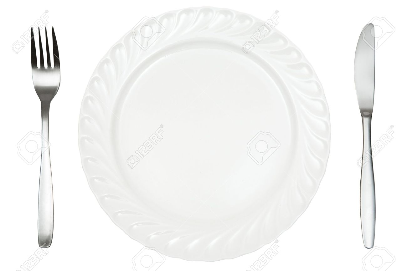 Plate, fork and knife isolated on a white background. - 2557460