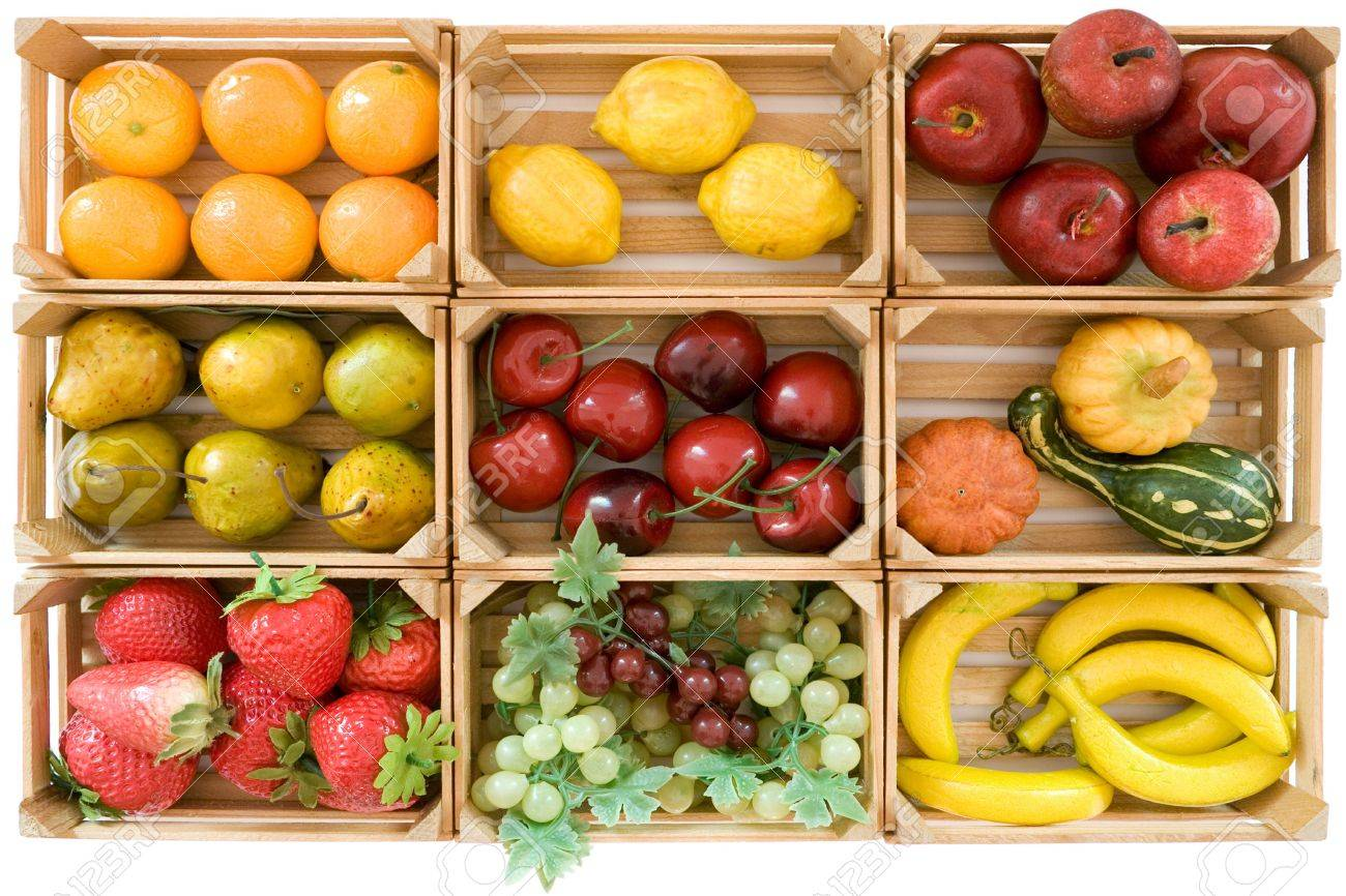 Wooden baskets with various toy fruits. Isolated on a white background. - 2783252
