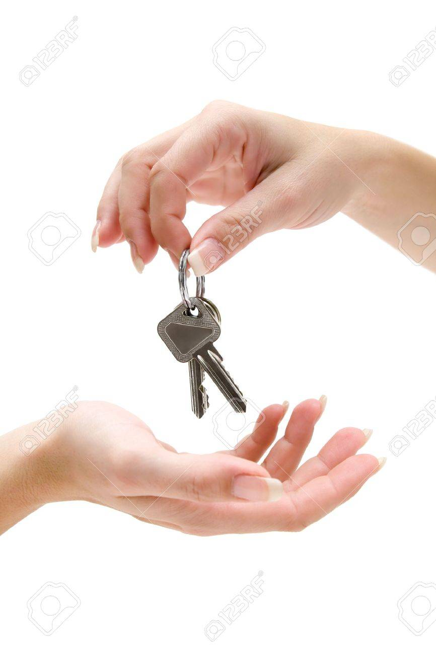 Receiving a bunch of keys. Isolated on a white background. - 2783214