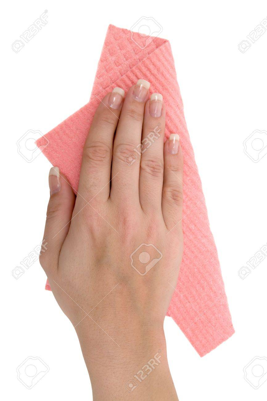 Woman cleaning with a red rag. Isolated on a white background. - 2996229