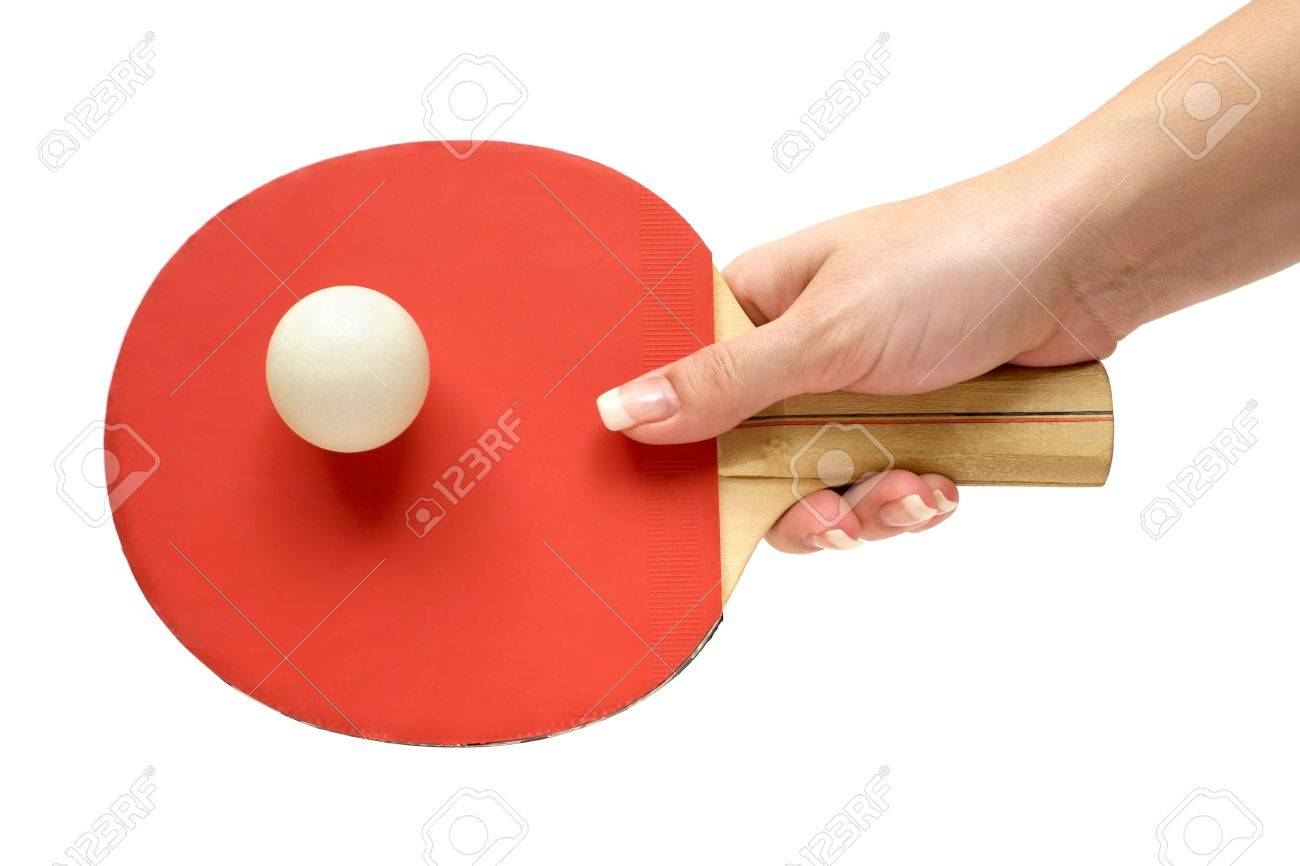 Woman playing table tennis. Isolated on a white background. Stock Photo - 2996217