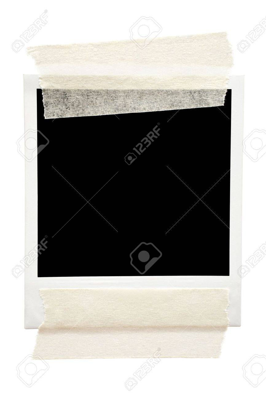 Empty frame taped with masking tape. Isolated on a white background. - 2996240