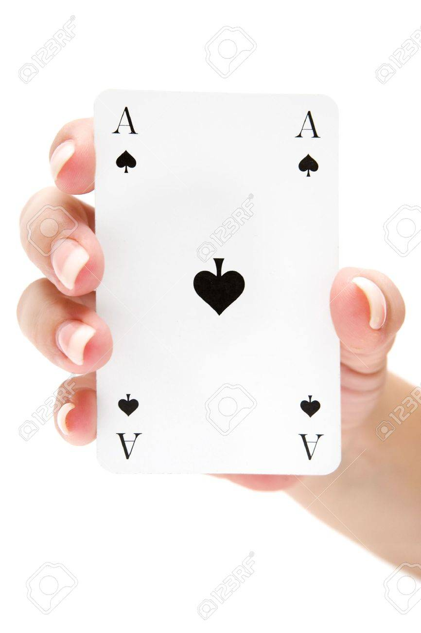 Female holding an ace of spades. Isolated on a white background. - 2996181