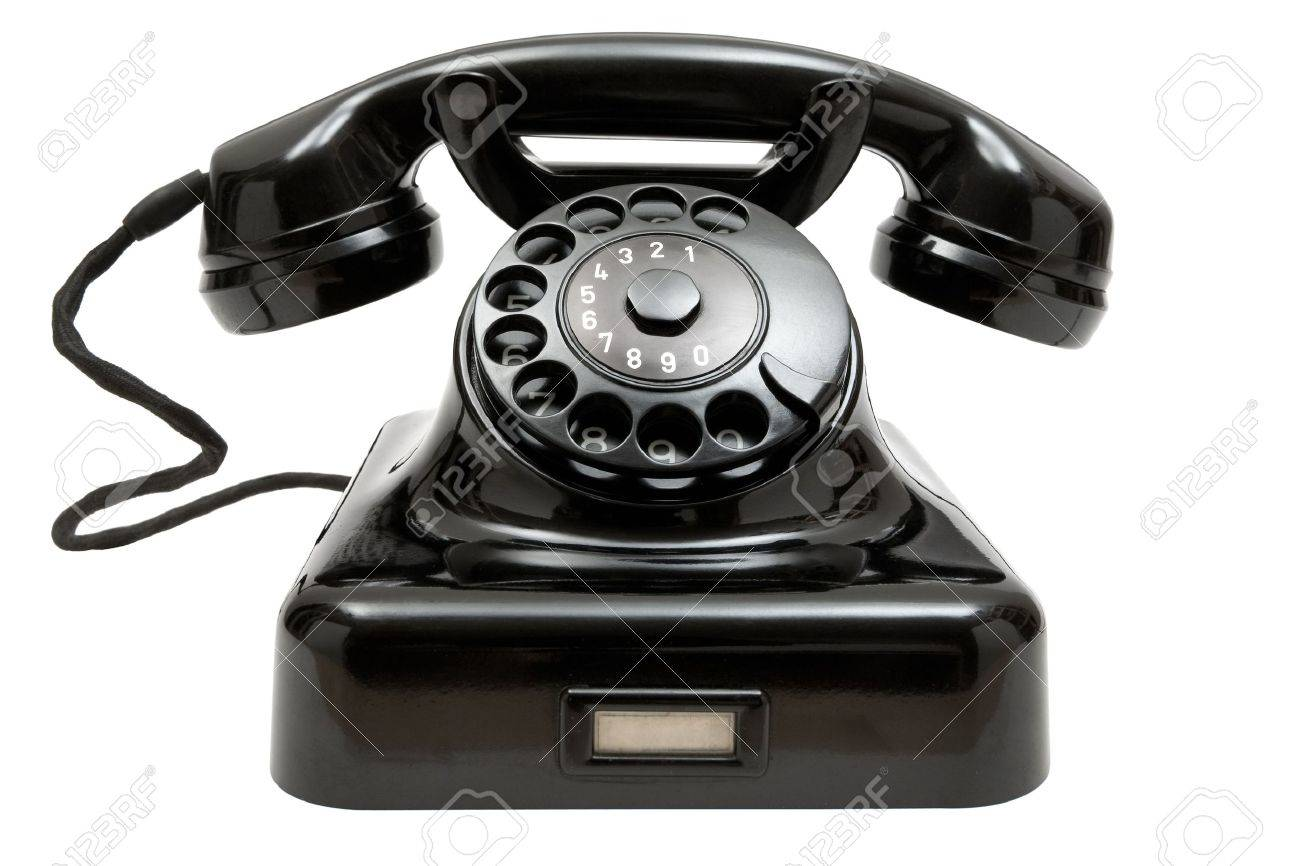 Old Fashioned Phone Isolated On A White Background Stock Photo
