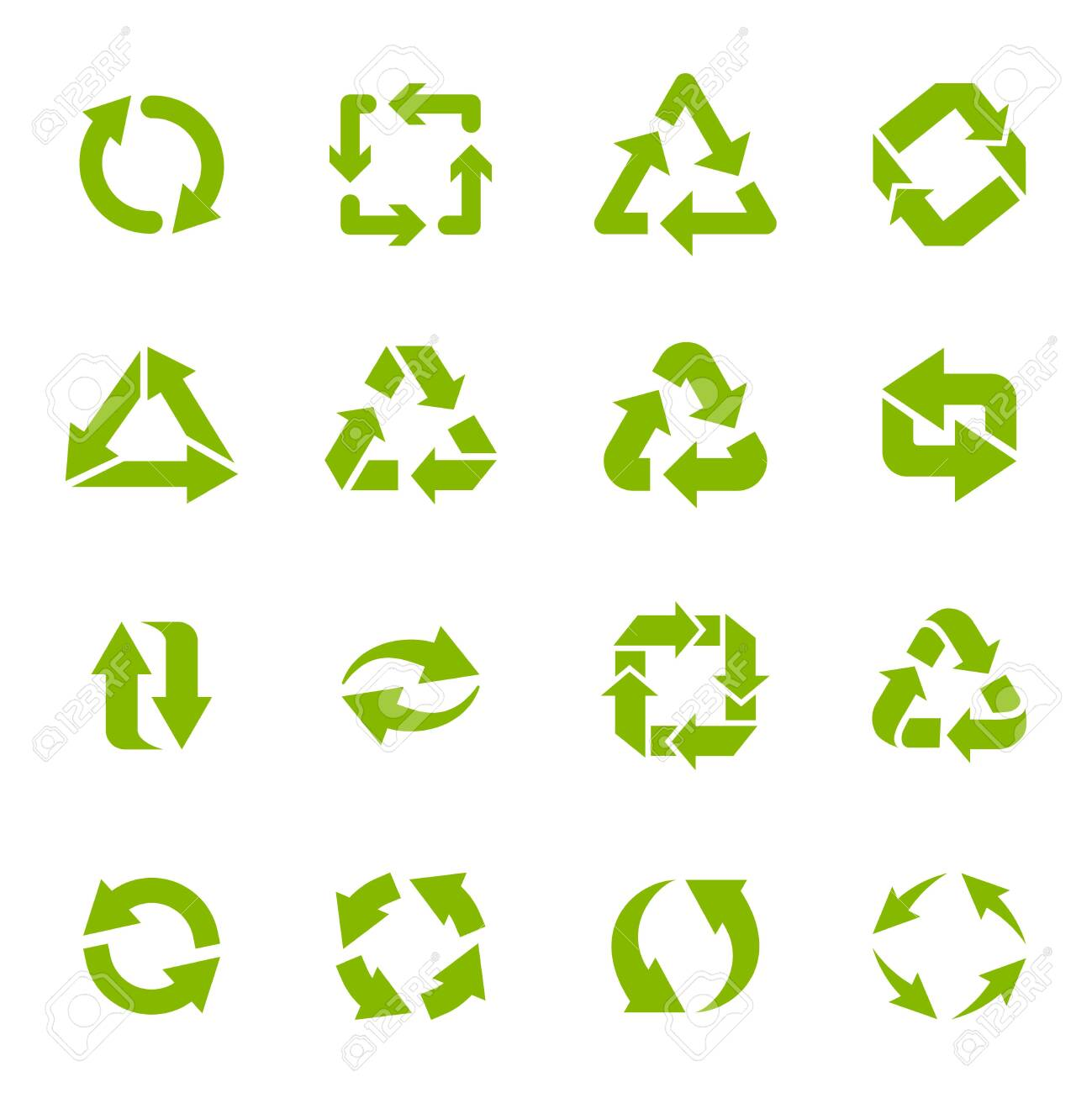 Recycle arrows. Garbage circular, triangle and square recycling icons, eco protection elements and recycled eco sign vector isolated icons set. Waste disposal alternative. Sustainable resource use - 137850744