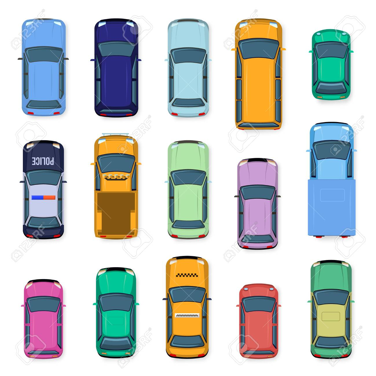 City car top view. City traffic cars roof, street vehicle taxi, police, subcompact and car above view. Auto transport isolated vector illustration set. flat vehicles from above - 142992842
