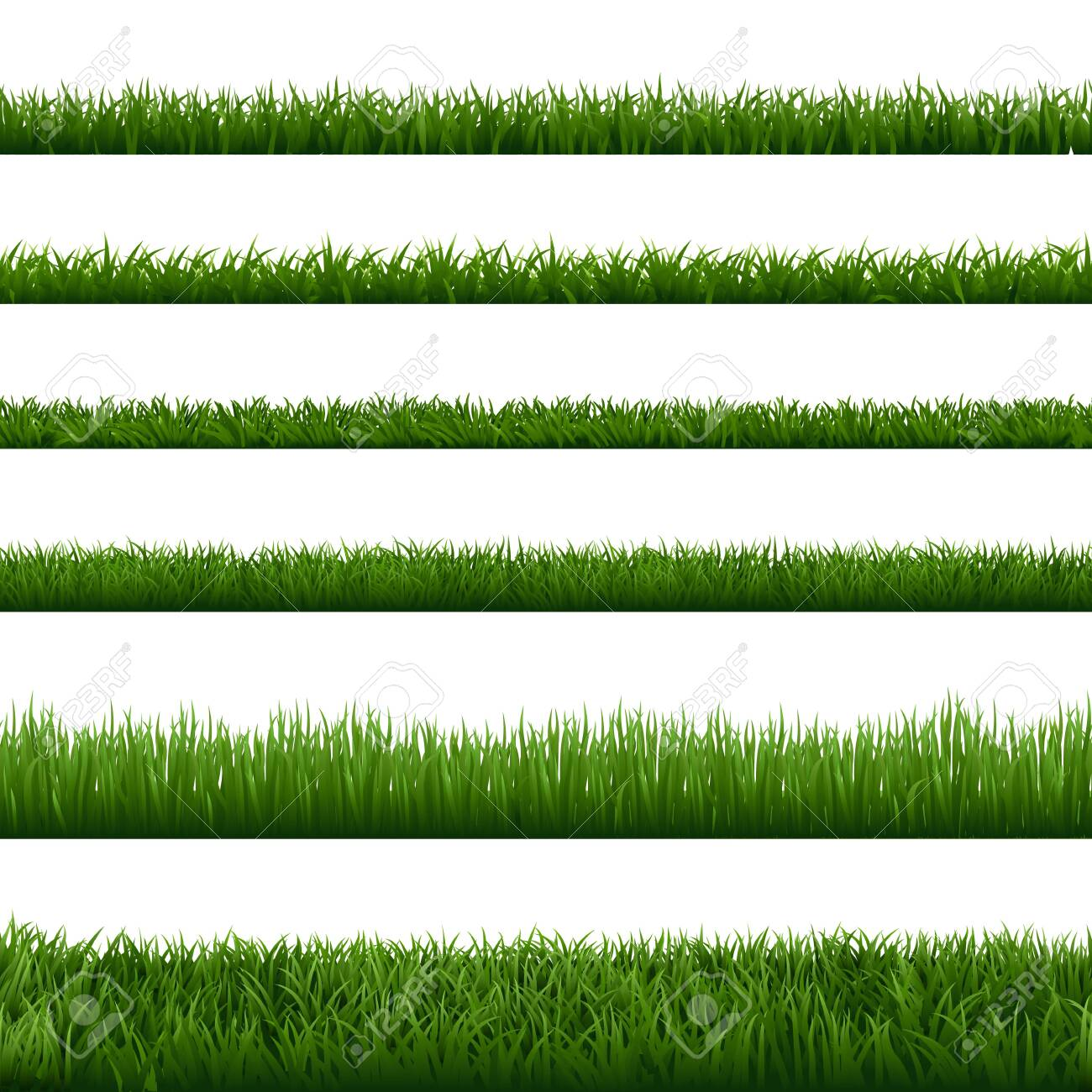 Realistic grass borders. Green garden herb plant, field landscape fresh lawn element, lush meadow gardening foliage vector isolated seamless border set. natural floral vegetation summer, spring frames - 142998392
