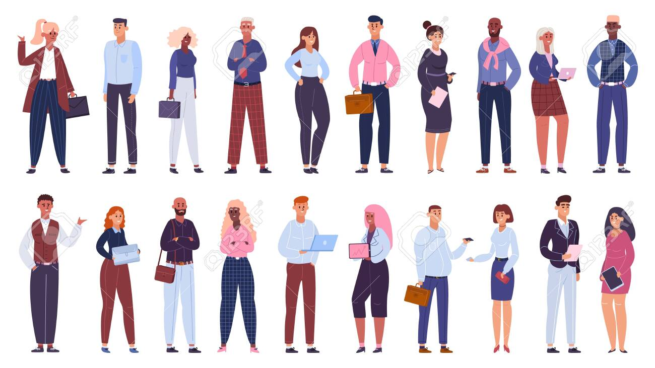 Multicultural business group. People office workers team, multinational business colleagues characters community isolated vector illustration set. Multicultural business team, businessman and women - 147081828