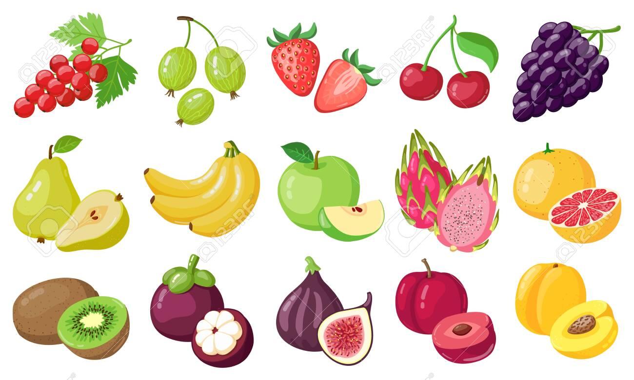 Cartoon fruits. Tropical fruit, banana, fig, apple and dragon fruit, citrus and berries, vegetarian exotic fruits vector illustration icons set. Organic and vegan food with vitamins - 154870489