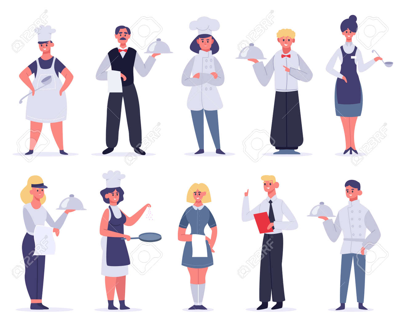 Kitchen workers. Restaurant staff characters, chef, assistants, hostess and waiter, kitchen workers cooking and serving, vector illustration set. Female and male employees in uniform - 158544464