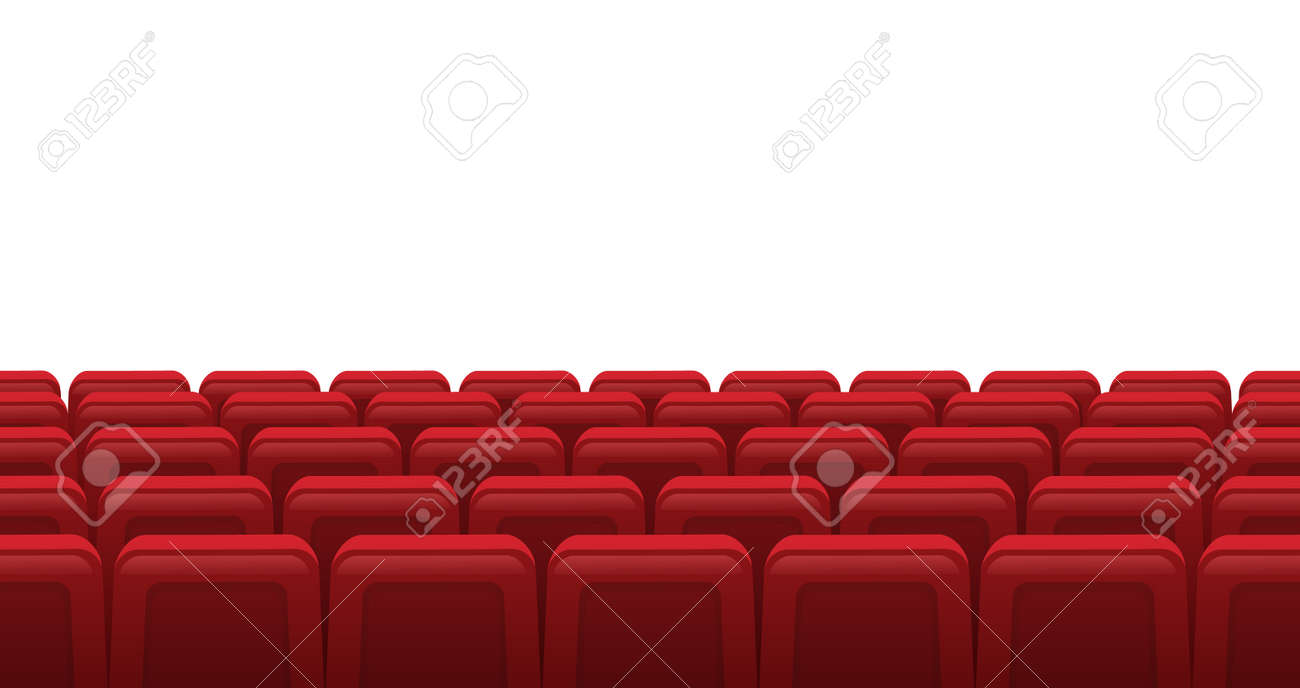 Movie theatre red seats. Empty rows of red cinema theatre seats, movie theatre interior. Cinema movie premiere event vector illustration. Hall for watching films or plays with armchairs - 159699941